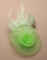 Net rosette fascinator with feather detail (Code 1806)